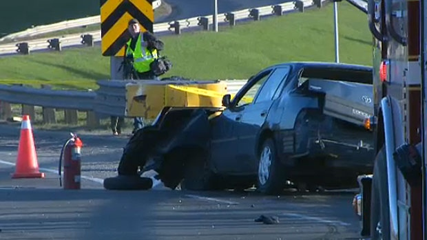 A man is in serious condition in Foothills Hospital after he was ejected from his car on Monday morning after a crash on Crowchild Trail.