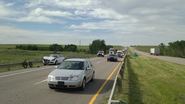 Emergency crews on the scene of an afternoon crash south of High River