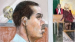 Luka Magnotta is shown in an artist's sketch at the Montreal Courthouse on Sept. 8, 2014. (Mike McLaughlin / THE CANADIAN PRESS)