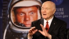 """Sen. John Glenn talks, via satellite, with the astronauts on the International Space Station, before the start of a roundtable discussion titled """"Learning from the Past to Innovate for the Future"""" Monday, Feb. 20, 2012, in Columbus, Ohio. (AP / Jay LaPrete)"""
