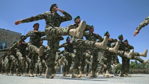 Afghanistan National Army (ANA) soldiers marching during their graduation ceremony at the Kabul Military Training Centre in Kabul, Afghanistan, on June 1, 2014. (AP / Massoud Hossaini)