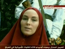 The footage, broadcast by Al Jazeera shows Amanda Lindhout, of Sylvan Lake, Alta., was released on Wednesday, Sept. 17, 2008.