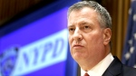 New York City Mayor Bill de Blasio listens during a news conference at police headquarters in New York, Monday, Dec. 22, 2014. (AP / Seth Wenig)