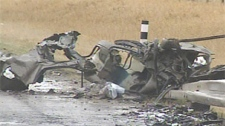 One person died in a crash west of Airdrie on Tuesday, may 1, 2012.