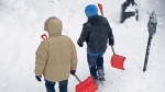 Snow shovellers head to work as a major winter storm hits Halifax on Tuesday, Jan. 27, 2015.