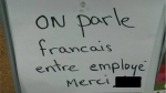 An employee working at a Quebec fast-food chain says she was humiliated by management for speaking English at work.