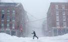 Lisetta Shah cross-country skis on Commercial Street in Portland, Maine, Tuesday, Jan. 27, 2015. (AP / Robert F. Bukaty)