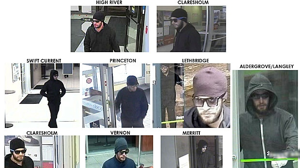RCMP in Alberta, B.C., and Saskatchewan, along with the Lethbridge Regional Police Service are asking for the public's help in identifying and locating this man, wanted in connection with a series of armed robberies. (RCMP)