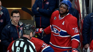 Montreal Canadiens defenseman P.K. Subban (76) argues with referee Dave Jackson after receiving a game misconduct in Montreal, on Wednesday, April 15, 2015. (THE CANADIAN PRESS/Ryan Remiorz)