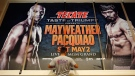 Billboard for the fight between Floyd Mayweather Jr. and Manny Pacquiao at the MGM Grand in Las Vegas, seen on April 24, 2015. (AP / John Locher)