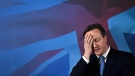 Britain's Prime Minister David Cameron gestures as he makes a speech in Croydon, England, on April 25, 2015. (Toby Melville, Pool Photo)