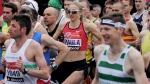 The current world record holder for the women's marathon Britain's Paula Radcliffe, centre, starts the 35th London Marathon, in Blackheath, London, Sunday, April 26, 2015. (AP / Tim Ireland, file)