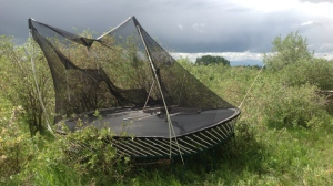 Sue Gray's photo of a damaged trampoline after small funnel cloud reportedly touched down in Rocky View County tossing the trampoline approximately 400 metres (courtesy: Sue Gray)