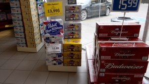 Beer is on display inside a store in Drummondville, Que., on Thursday, July 23, 2015. (Ryan Remiorz / THE CANADIAN PRESS)