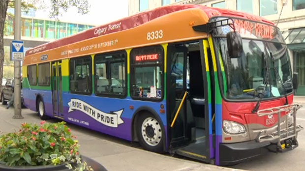 Calgary Transit's 'Ride the Pride' bus was unveiled on Thursday outside of Calgary City Hall
