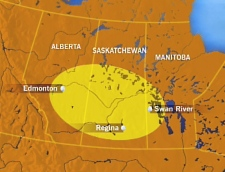 A CTV map details the area of western Canada where the flash was reportedly visible.
