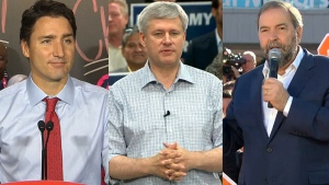 Liberal Leader Justin Trudeau, Conservative Leader Stephen Harper and NDP Leader Tom Mulcair are seen in this combined image from campaign events, Tuesday, Oct. 13, 2015.