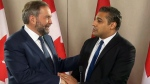 NDP Leader Tom Mulcair meets with Mohamed Fahmy