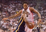Indiana Pacers' Rodney Stuckey is guarded by Toronto Raptors' DeMar DeRozan (back) during first half NBA action in Toronto on Wednesday, Oct. 28, 2015. (The Canadian Press/Frank Gunn)