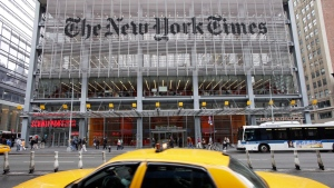 In this file photo, the front of the New York Times offices in New York City is seen.(AP Photo / Mark Lennihan, File)