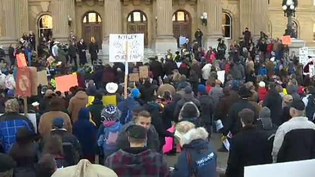 About 1,000 people gathered on the steps of the Alberta Legislature on Monday to protest the controversial Bill 6. Other rallies are scheduled for Red Deer on Tuesday and Medicine Hat and Calgary later this week.