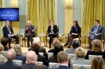 Minister of Immigration, Refugees and Citizenship John McCallum (second from left) speaks as Secretary to the Governor General Stephen Wallace, Minister of Citizenship, Immigration and International Trade of Ontario Michael Chan, Minister of Immigration, Diversity and Inclusiveness of Quebec Kathleen Weil and Mayor of Halifax Mike Savage listen, during the Forum on Welcoming Syrian Refugees to Canada at Rideau Hall in Ottawa on Tuesday, Dec. 1, 2015. THE CANADIAN PRESS/Justin Tang