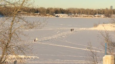 water safety, ice, ice safety, frozen river, Glenm
