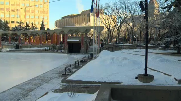 Few Calgarians braved Saturday morning's cold temperatures at Olympic Plaza
