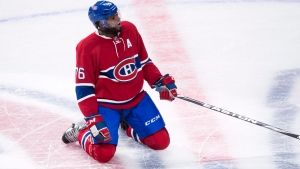 Montreal Canadiens' P.K. Subban celebrates his goal against the Pittsburgh Penguins, in Montreal, on Saturday, Jan. 9, 2016. (THE CANADIAN PRESS/Paul Chiasson)