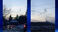 meteor, fireball, chemtrail, streak of light, rock