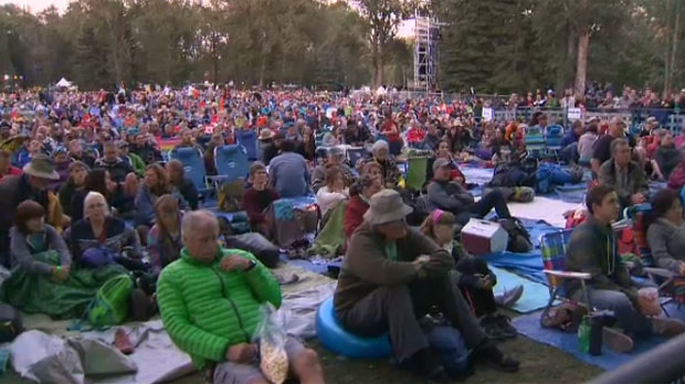 A sea of music fans watch Bruce Cockburn's performance during the 2014 Calgary Folk Music Festival on Prince's Island