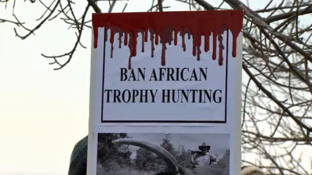 Protest sign outside the African Hunting Expo in the city's northeast