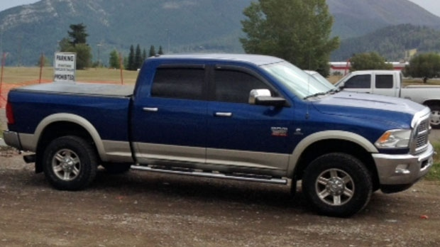Supplied photo of 2011 Blue Dodge 2500 quad cab stolen from a High River carwash bay at gunpoint on February 5, 2016 (RCMP)