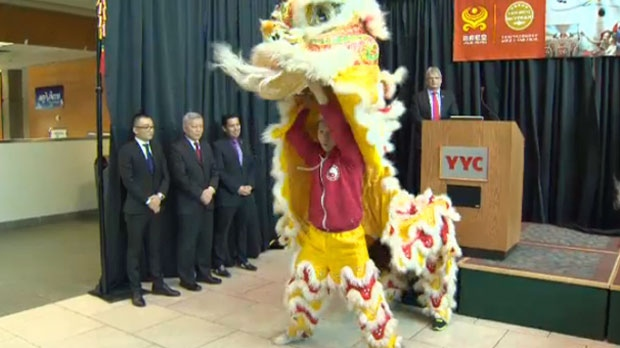 A Chinese Lion Dance performance during Hainan Airlines' announcement of non-stop flights between Calgary and Beijing