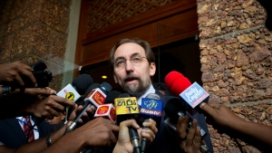 UN High Commissioner for Human Rights Zeid Raad al-Hussein, speaks to media as he leaves a hotel in Colombo, Sri Lanka, Saturday, Feb. 6, 2016. (AP / Eranga Jayawardena)
