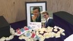 A memorial table has been set up for the two students who were killed in a weekend mishap at Canada Olympic Park.