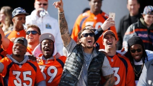 From left, Denver Broncos practice squad running back Kapri Bibbs, defensive back Taurean Nixon, linebacker Shane Ray, backup quarterback Trevor Siemian and strong safety David Bruton celebrate the Super Bowl win, in Denver, Colo., on Tuesday, Feb. 9, 2016. (AP Photo/David Zalubowski)