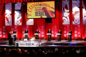 Republican presidential candidates, from left, Ohio Gov. John Kasich, former Florida Gov. Jeb Bush, Sen. Ted Cruz, R-Texas, businessman Donald Trump, Sen. Marco Rubio, R-Fla., retired neurosurgeon Ben Carson participate during the CBS News Republican presidential debate at the Peace Center, Saturday, Feb. 13, 2016, in Greenville, S.C. (AP / John Bazemore)