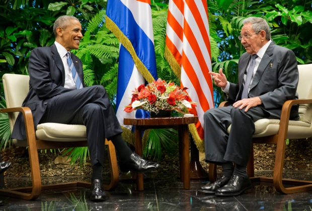 U.S. President Barack Obama meets with Cuban President Raul Castro at the Palace of the Revolution, Monday, March 21, 2016, in Havana, Cuba. (AP / Pablo Martinez Monsivais)