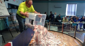 'Chase the Ace' jackpot tickets are added to a new 'ticket pit' ahead of the draw in Sydney, N.S. on Saturday, April 9, 2016. (CTV News / Kyle Moore)
