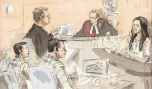 Mark Smich, (left to right) Crown Anthony Leach, Dellen Millard, Justice Andrew Goodman and Millard's former girlfriend Christine Noudga appear in court at the Tim Bosma murder trial in Hamilton, Ont., Wednesday, April 27, 2016. (Alexandra Newbould / THE CANADIAN PRESS)