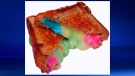 Blueberry, strawberry and kiwi are combined to make the Fruit Infused Grilled Cheese.