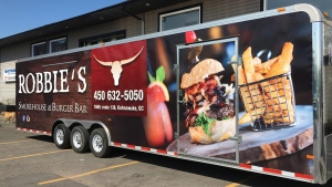 The Robbie's Smokehouse & Burger Bar trailer shown in this handout image was stolen on May 20, 2016. (THE CANADIAN PRESS / HO-Bobby Dimitriadis)