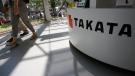 Takata Corp. desk at an automaker's showroom in Tokyo, on May 4, 2016. (AP / Shizuo Kambayashi)