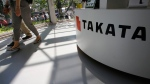 Takata Corp. desk at an automaker's showroom in Tokyo, on May 4, 2016. (AP / Shizuo Kambayashi)