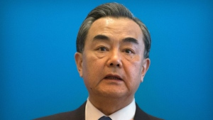 Chinese Foreign Minister Wang Yi speaks at a press briefing on the sidelines of the fifth regular foreign ministers' meeting of the Conference on Interaction and Confidence Building Measures in Asia (CICA) at the Diaoyutai State Guesthouse in Beijing on Thursday, April 28, 2016. (AP / Mark Schiefelbein)