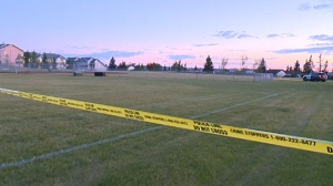 Police have also blocked off this park near a home at the centre of a violent home invasion on Sunday night.