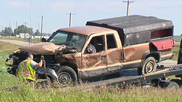 EMS says that the male driver of this pickup truck was ejected from his vehicle and died as a result of a crash on Rainbow Road east of Calgary.