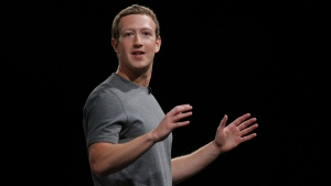 Facebook CEO Mark Zuckerberg is seen speaking during the Samsung Galaxy Unpacked 2016 event in Barcelona, Spain on Feb. 21, 2016. (AP /Manu Fernadez)