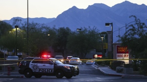 Las Vegas police investigate a homicide outside of a Walgreens at Lake Mead and Jones Boulevards in Las Vegas on Wednesday, June 29, 2016. (Chase Stevens / Las Vegas Review-Journal)